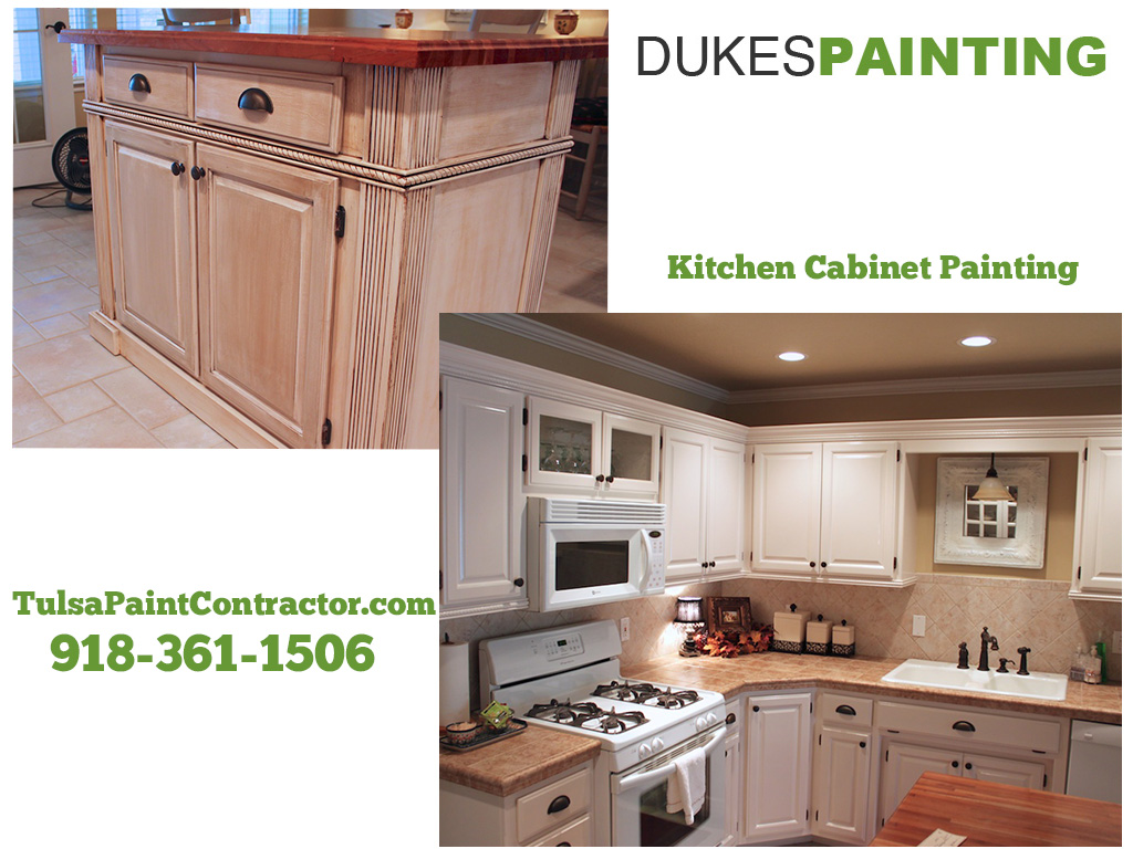 Tulsa cabinet glaze and paint job dukes painting for Kitchen cabinets tulsa