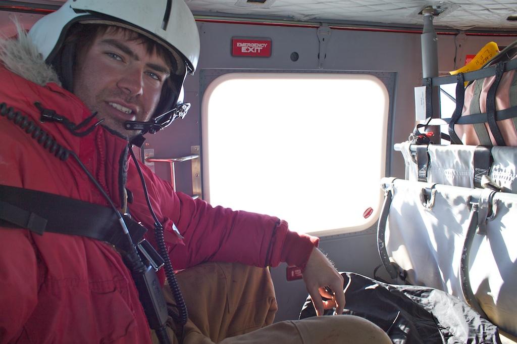 Marty in Antarctica in Helo