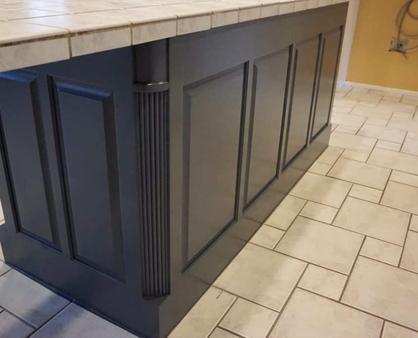White Kitchen Cabinet Painting with Blue Accent Island ...