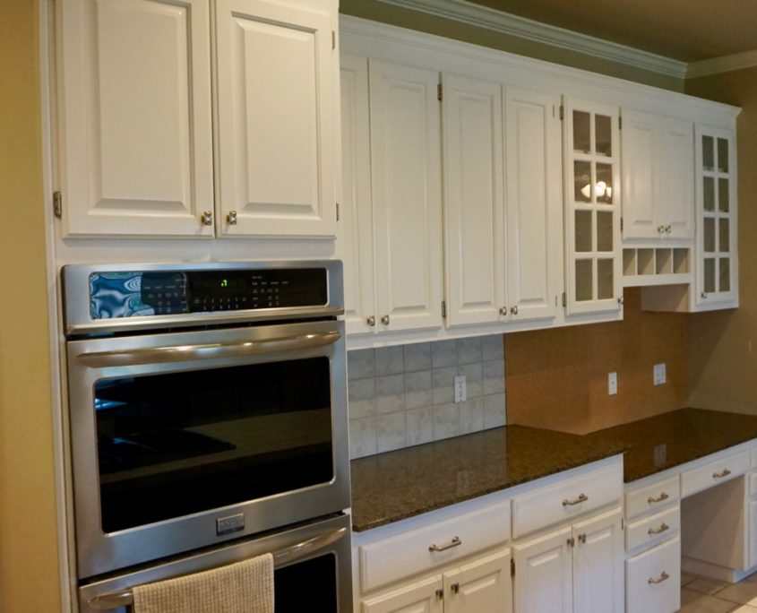 White Kitchen Cabinet Painting With Blue Accent Island